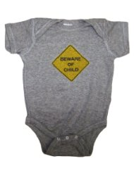 BEWARE OF CHILD Baby Funny Romper Snapsuit Onesie:Premium Cotton.SIZES 6-12 MONTHS,12-18 MONTHS.