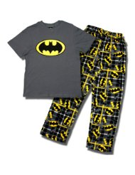 Silly Batman Men's short-sleeve, long leg pajama:knit cotton tops feature a large Batman Logo against a grey background. The cozy fleece bottom has an all-over Batman logo on a black and gray plaid background and features a button-fly, covered-elastic waistband with draw cord.SIZES Small, Medium, Large.