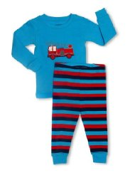 Fire Truck 2 Piece Pajama Set 100% Cotton:Size 6M-5T.Tagless Label to help protect baby's delicate skin 190 GSM Cotton/Machine Wash Warm, Inside Out.Customer Reviews are 4.8 out of 5.0 stars-These pajamas are not only adorable but also fit perfectly.