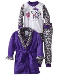Girls 2-6X Purrfect 3 Piece Robe And Pajama Set:Elastic waistband with Belted robe.Knit pullover top 100% Polyester Fleece/Machine Wash.Customer Reviews ARE 5.0 OUT OF 5.0 STARS-This purchase is so cute and worth the money .