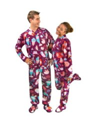 Kawaii Candyshop Print Polar Fleece Drop Seat Feetie Pajamas/birds and cats having fun in a candy store with swirly lollipops and ice cream milkshakes/Made from soft and cozy polyester polar fleece/Made loose enough that you can curl up in a ball/Zipper closure/Customer Reviews are 5.0 out of 5.0 stars.