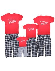 Personalized Matching Cotton Clothing Sets for Adults and Coordinating Kids Outfits for Vacations and Familytime:Custom Shirts: Red Short Sleeve 100% Cotton, Crewneck, Unisex Sizing.Adult Pants: Black and White Plaid, 100% Cotton Flannel.Youth Pant Options: Solid Grey Cotton/Poly Blend/Minimal Shrinkage, Machine Wash Cold.