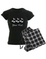 Music Notes Personalized Women's Dark Pajamas Music Women's Dark Pajamas:Great gift for the musician, music teacher, band director, marching band member, drum major, choir director or piano teacher.
