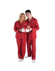 Personalized Adult Women's Red Valentine Pajamas Name Plain:2-piece set includes a long-sleeve, button-down shirt with lapels, white piping and comfortable elasticized pants/ embroider any name, up to 9 characters/Made of ultra soft cotton/poly blend fabric/Machine washable.