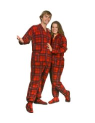 Red Plaid Polar Fleece Drop Seat Feetie Pajamas for Teens and Adults/Tartan pattern features shades a dark blue and deep red/Full body zipper runs from the neck to just below the waist/Fabric-polyester/Customer Reviews-5.0 out of 5.0 stars.