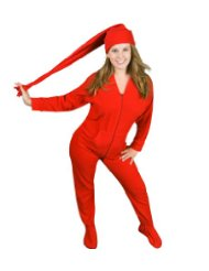 Red Polar Fleece Butt-Flap Footie Pajamas with Red Night Cap/Made from soft and cozy polyester polar fleece/Detached red fleece night cap/ red footie pajamas are made for men and women/Butt-flap makes bathroom trips easyer/Customer Reviews are 4.0 out of 5 stars.