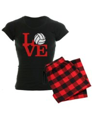 Volleyball Love - Red Women's Dark Pajamas Sports Women's Dark Pajamas:choice of a soft pinkblack or whiteblack plaid flannel bottom, plus your choice of black or white tee top.